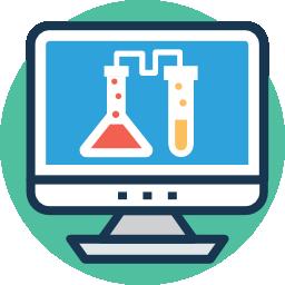 icono de pantalla con material de laboratorio