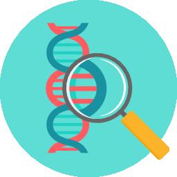 icono de lupa observando el ADN