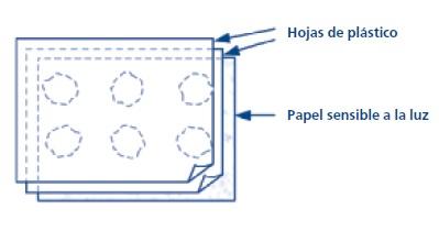 Representación de láminas de plástico con las muestras y el papel sensible a la luz